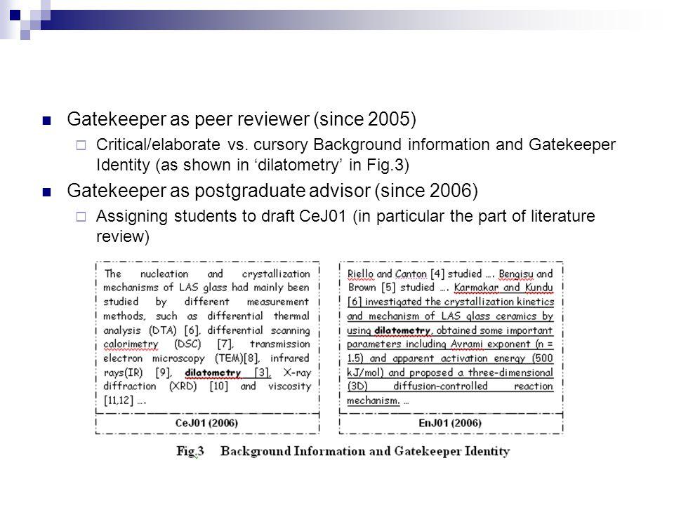 Gatekeeper as peer reviewer (since 2005)  Critical/elaborate vs.