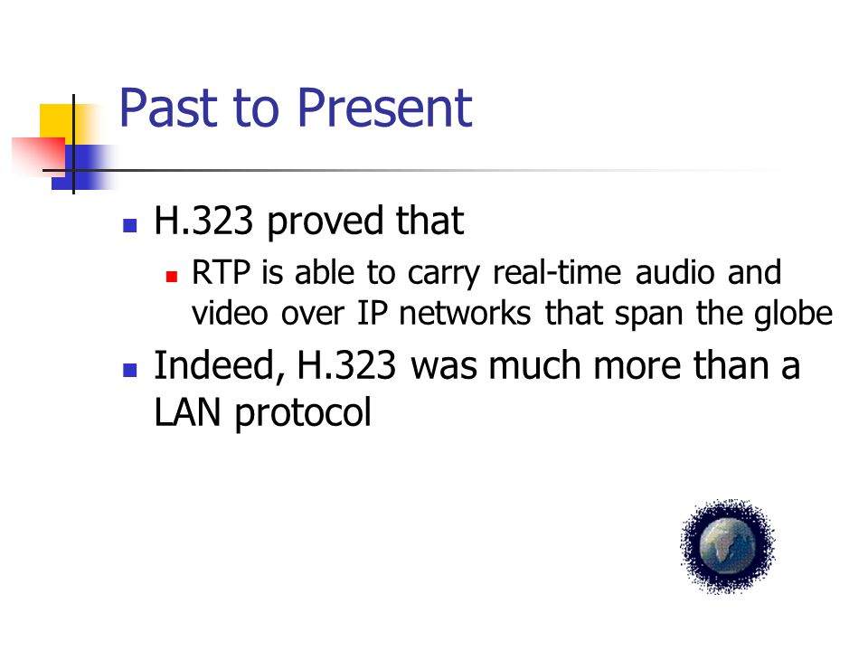 Past to Present H.323 proved that RTP is able to carry real-time audio and video over IP networks that span the globe Indeed, H.323 was much more than