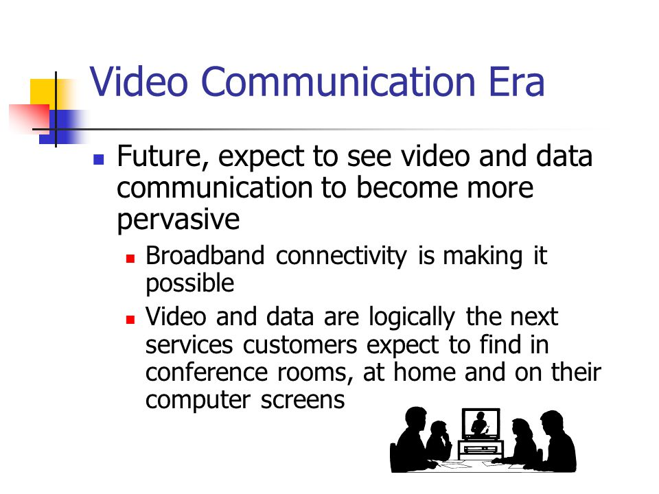 Video Communication Era Future, expect to see video and data communication to become more pervasive Broadband connectivity is making it possible Video