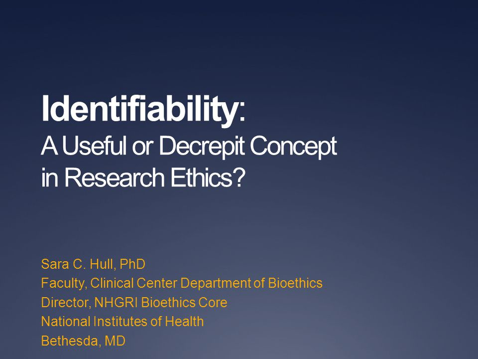Disclaimers/Disclosures No statement in this presentation should be construed as an official position of the National Human Genome Research Institute, National Institutes of Health, or Department of Health and Human Services.