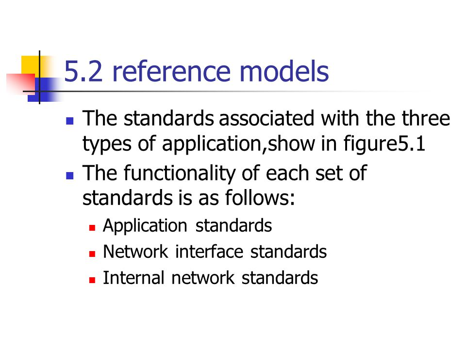 5.2 reference models The standards associated with the three types of application,show in figure5.1 The functionality of each set of standards is as f