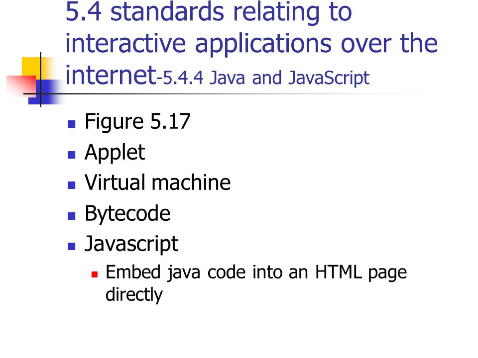5.4 standards relating to interactive applications over the internet -5.4.4 Java and JavaScript Figure 5.17 Applet Virtual machine Bytecode Javascript