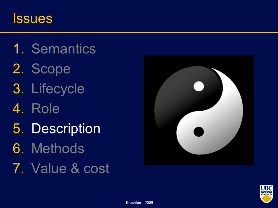 Kruchten - 2009 Issues 1.Semantics 2.Scope 3.Lifecycle 4.Role 5.Description 6.Methods 7.Value & cost