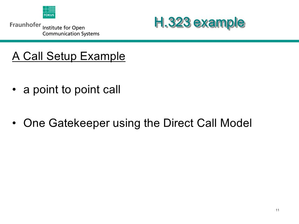 11 H.323 example A Call Setup Example a point to point call One Gatekeeper using the Direct Call Model