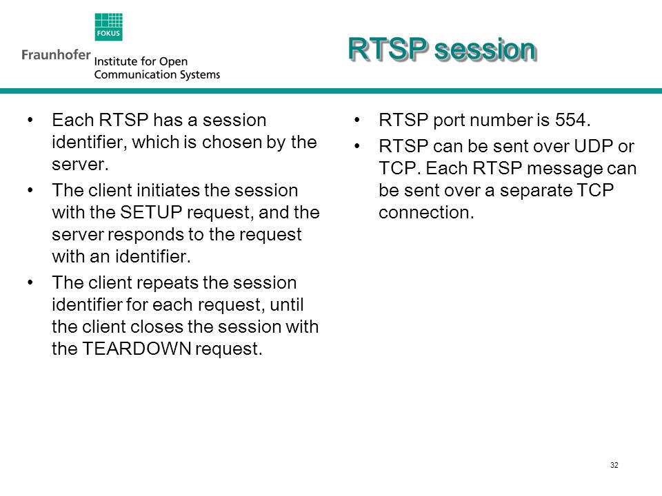 32 RTSP session Each RTSP has a session identifier, which is chosen by the server.