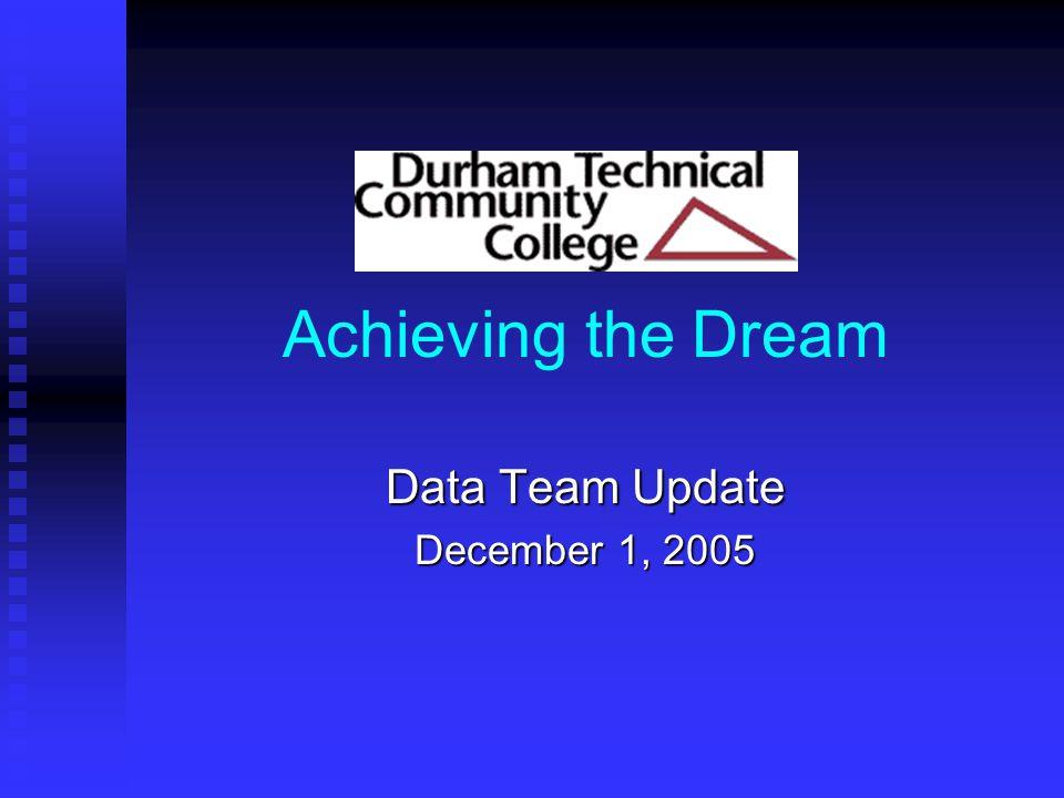 Achieving the Dream Data Team Update December 1, 2005