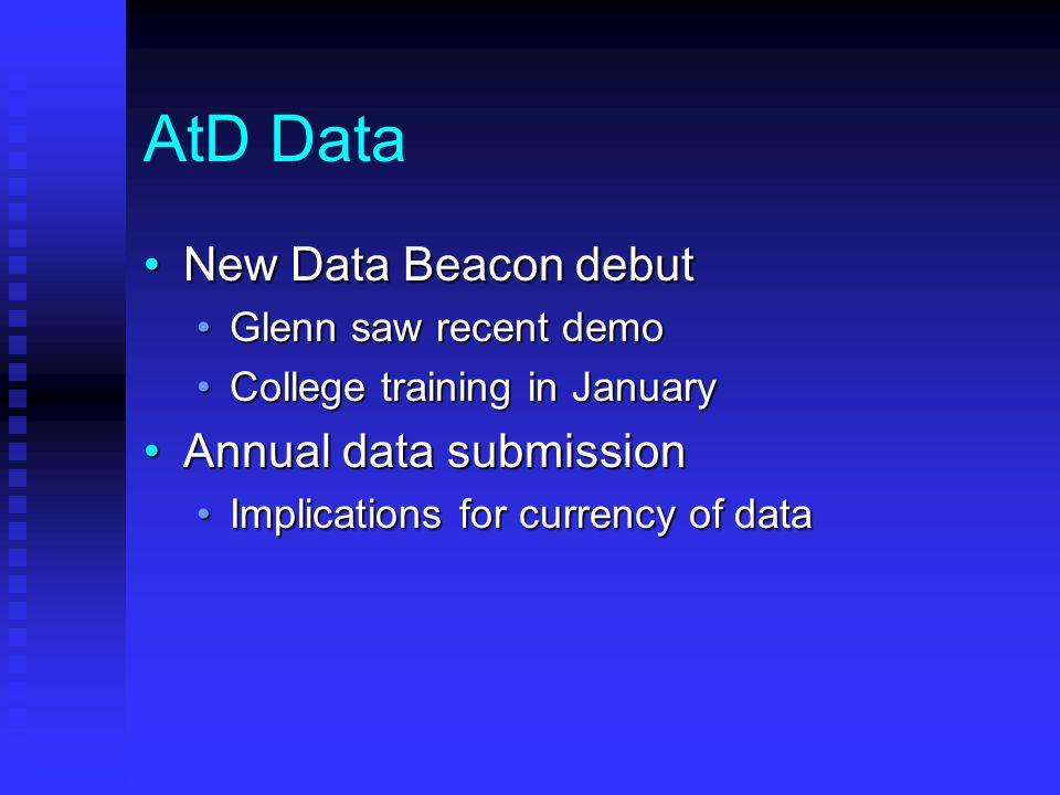 AtD Data New Data Beacon debutNew Data Beacon debut Glenn saw recent demoGlenn saw recent demo College training in JanuaryCollege training in January