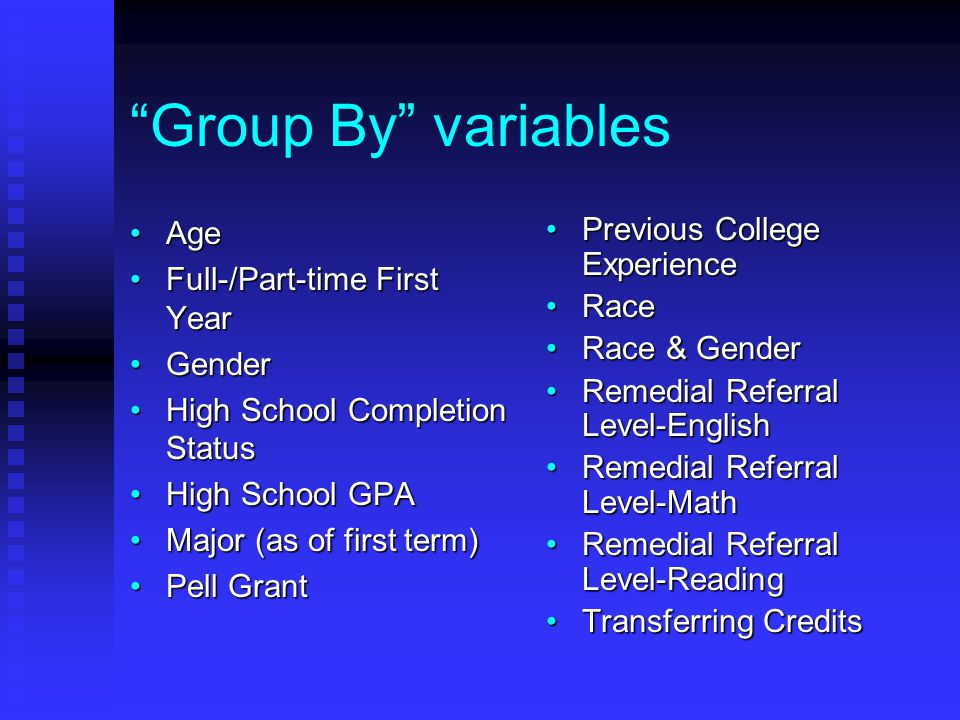 """""""Group By"""" variables AgeAge Full-/Part-time First YearFull-/Part-time First Year GenderGender High School Completion StatusHigh School Completion Stat"""