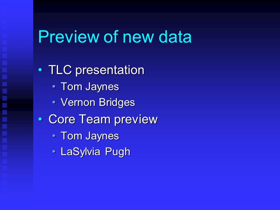 Preview of new data TLC presentationTLC presentation Tom JaynesTom Jaynes Vernon BridgesVernon Bridges Core Team previewCore Team preview Tom JaynesTom Jaynes LaSylvia PughLaSylvia Pugh