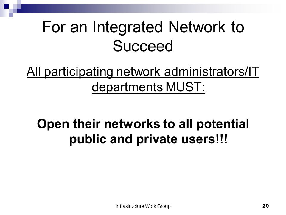 Infrastructure Work Group20 For an Integrated Network to Succeed All participating network administrators/IT departments MUST: Open their networks to all potential public and private users!!!