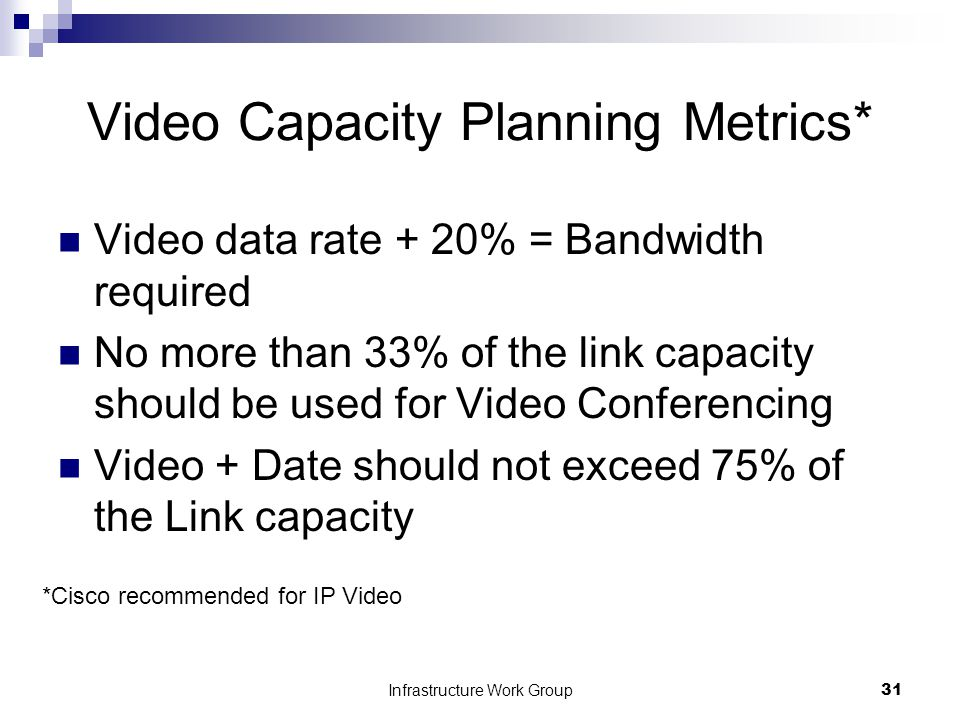 Infrastructure Work Group31 Video Capacity Planning Metrics* Video data rate + 20% = Bandwidth required No more than 33% of the link capacity should be used for Video Conferencing Video + Date should not exceed 75% of the Link capacity *Cisco recommended for IP Video