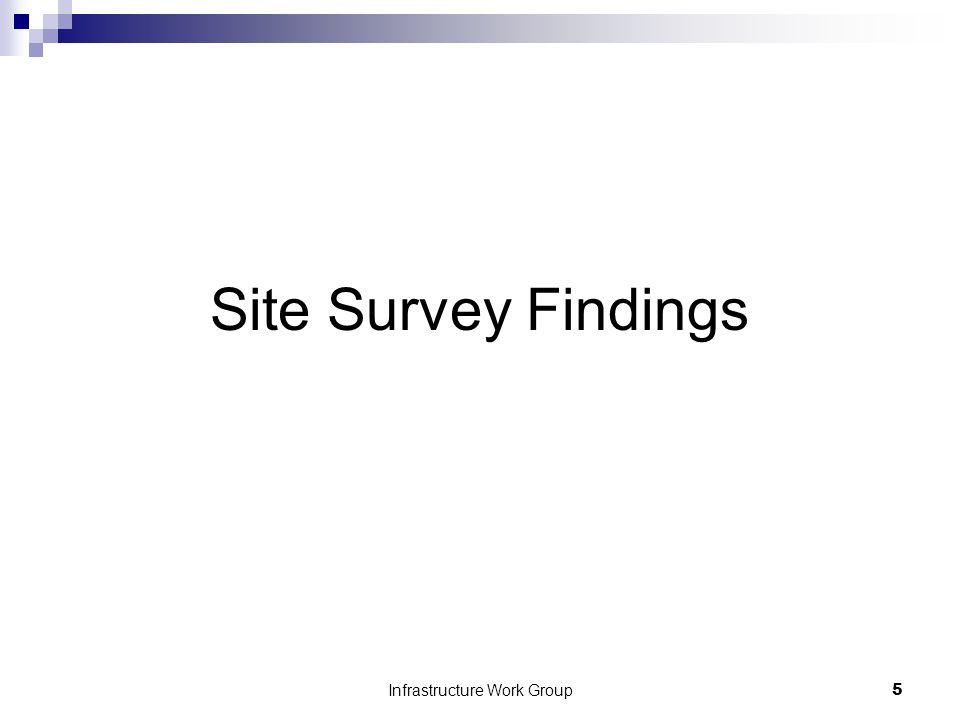 Infrastructure Work Group5 Site Survey Findings