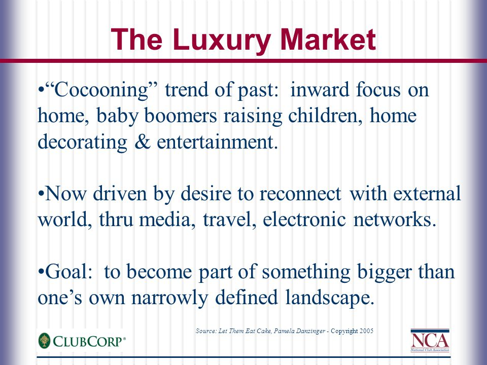 Cocooning trend of past: inward focus on home, baby boomers raising children, home decorating & entertainment.