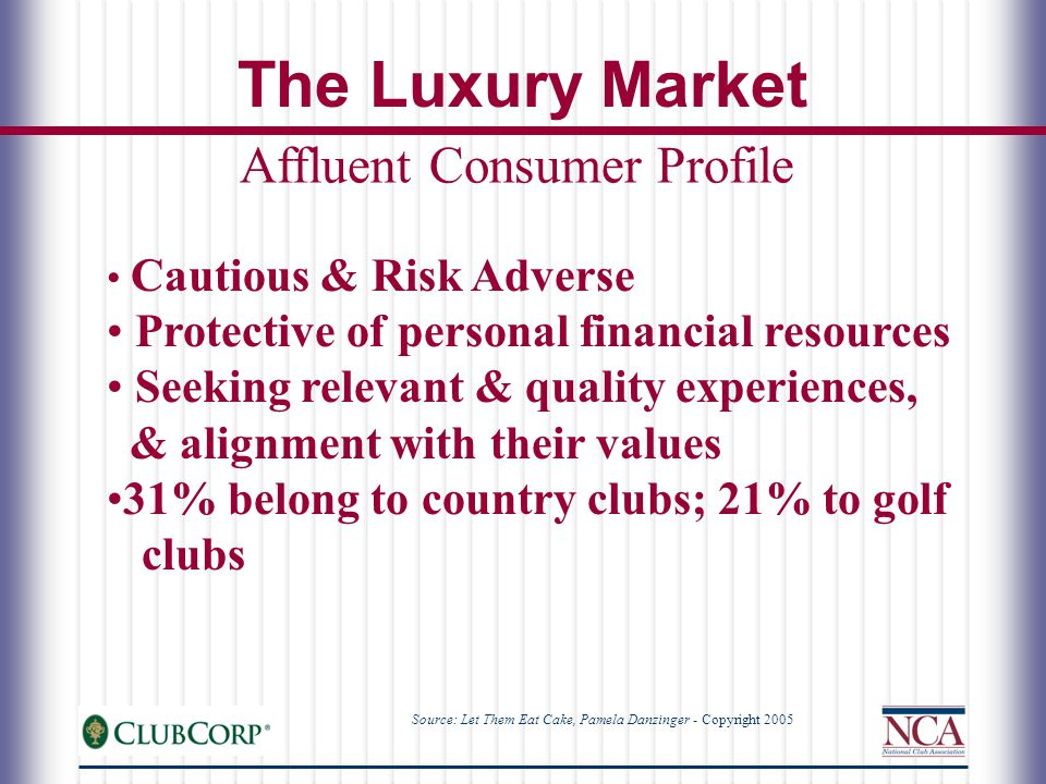 Cautious & Risk Adverse Protective of personal financial resources Seeking relevant & quality experiences, & alignment with their values 31% belong to country clubs; 21% to golf clubs Affluent Consumer Profile The Luxury Market Source: Let Them Eat Cake, Pamela Danzinger - Copyright 2005