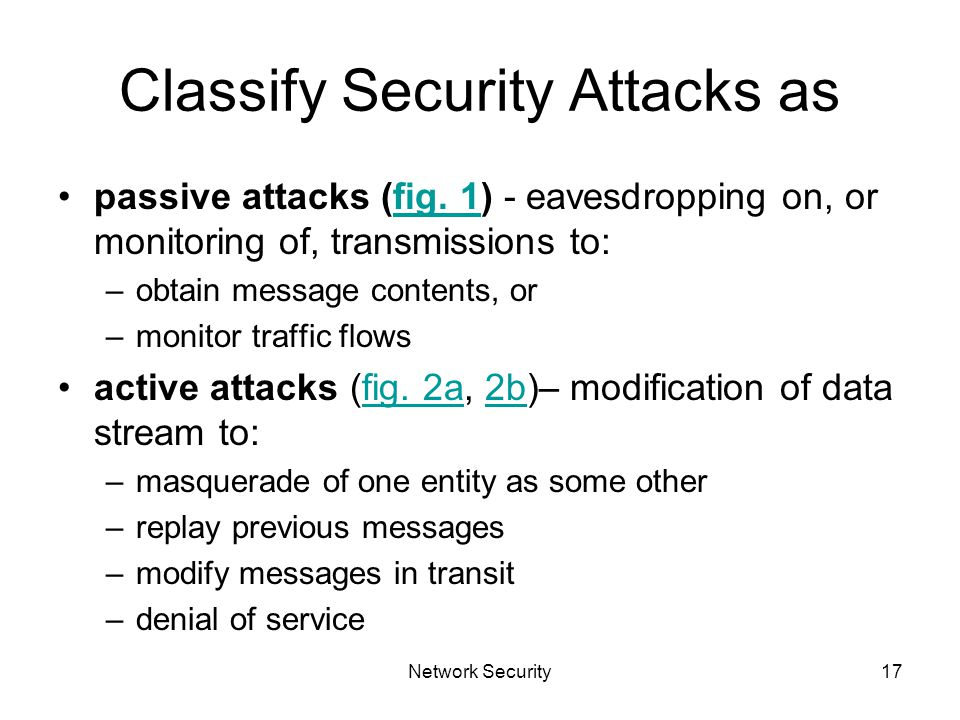 Network Security17 Classify Security Attacks as passive attacks (fig.