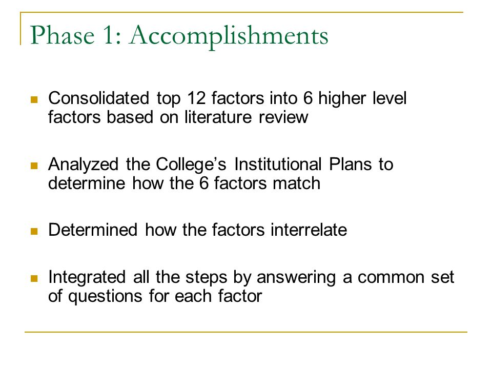 Phase 1: Accomplishments Consolidated top 12 factors into 6 higher level factors based on literature review Analyzed the College's Institutional Plans to determine how the 6 factors match Determined how the factors interrelate Integrated all the steps by answering a common set of questions for each factor