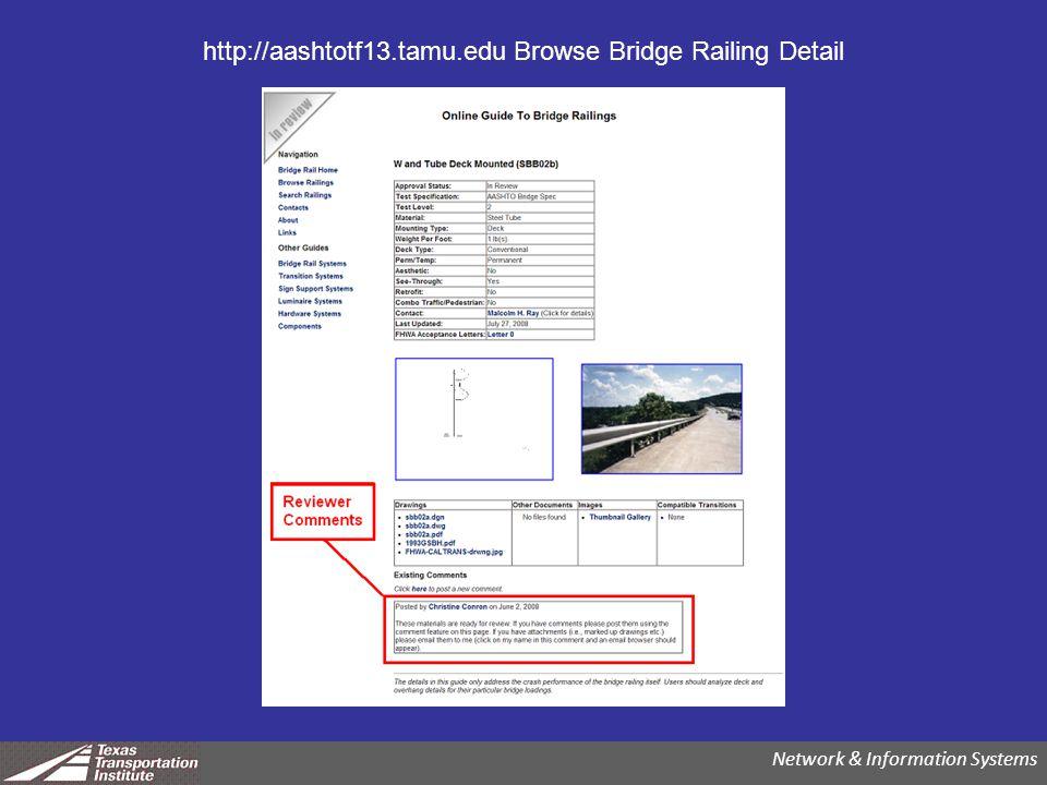 http://aashtotf13.tamu.edu Browse Bridge Railing Detail Network & Information Systems