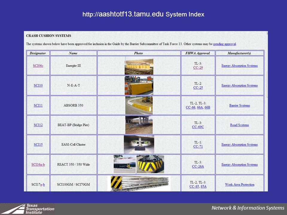 http:// aashtotf13.tamu.edu System Index Network & Information Systems