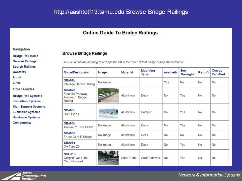 http://aashtotf13.tamu.edu Browse Bridge Railings Network & Information Systems