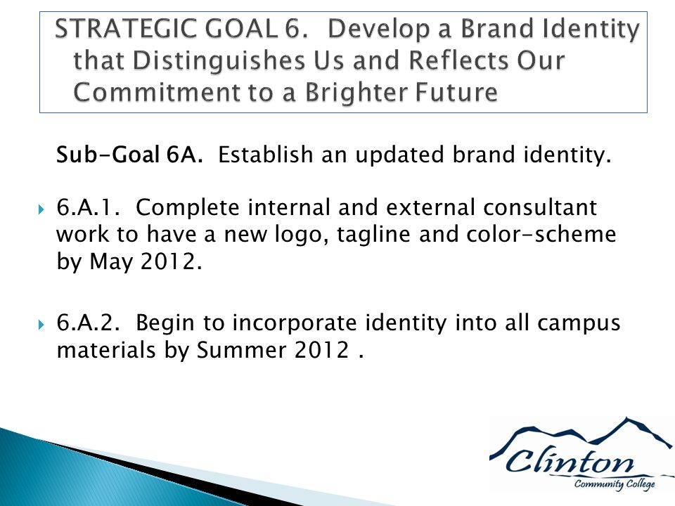 Sub-Goal 6A. Establish an updated brand identity.