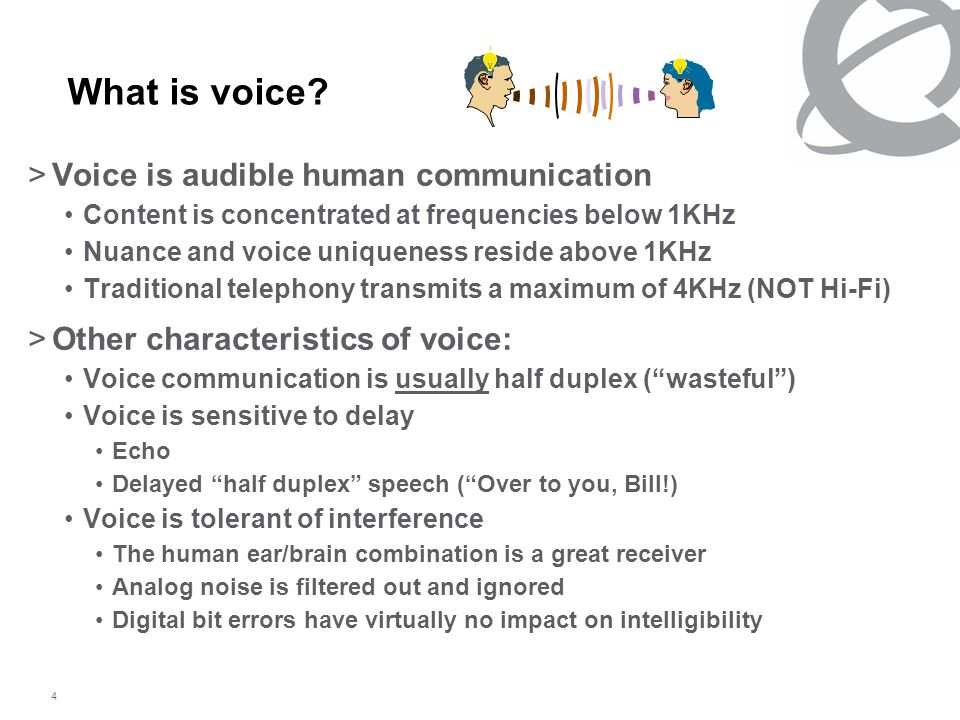 4 What is voice? >Voice is audible human communication Content is concentrated at frequencies below 1KHz Nuance and voice uniqueness reside above 1KHz