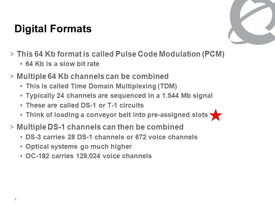 9 Digital Formats >This 64 Kb format is called Pulse Code Modulation (PCM) 64 Kb is a slow bit rate >Multiple 64 Kb channels can be combined This is called Time Domain Multiplexing (TDM) Typically 24 channels are sequenced in a 1.544 Mb signal These are called DS-1 or T-1 circuits Think of loading a conveyor belt into pre-assigned slots >Multiple DS-1 channels can then be combined DS-3 carries 28 DS-1 channels or 672 voice channels Optical systems go much higher OC-192 carries 129,024 voice channels