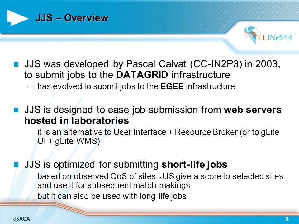 JSAGA14 WMS WMS input data SRM GridFTP WS-GRAM LCG-CELCG-CEWS-GRAM firewall This is still not enough… job desc.