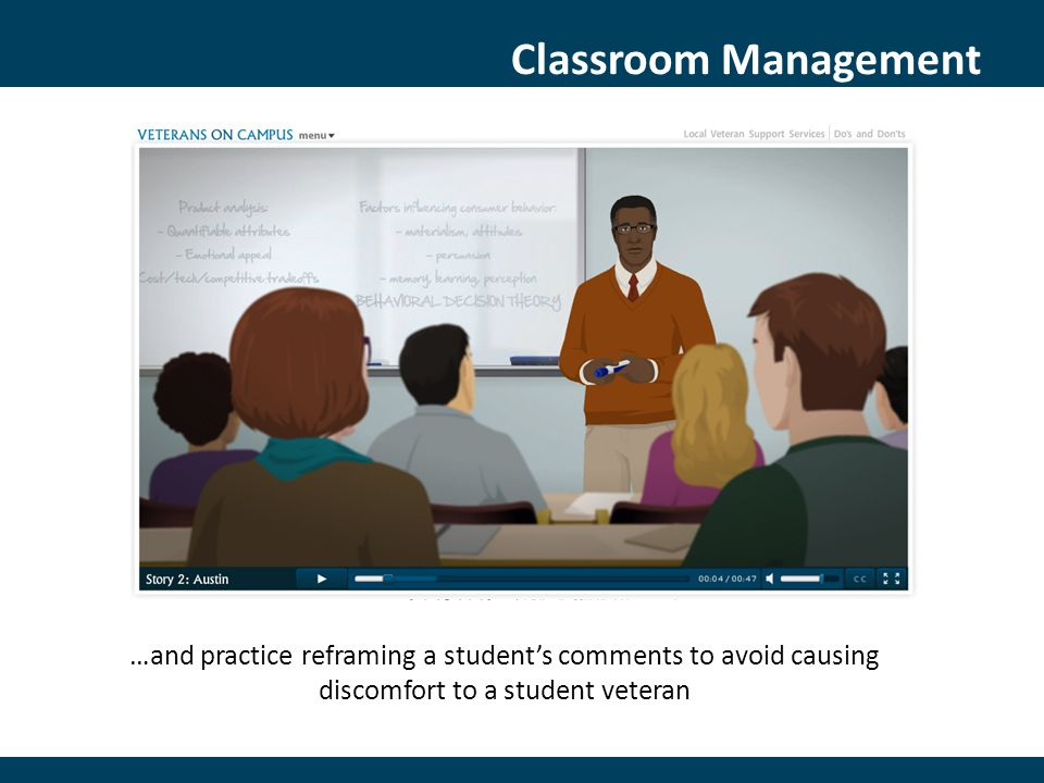 Classroom Management …and practice reframing a student's comments to avoid causing discomfort to a student veteran