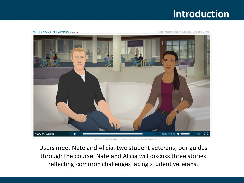 Introduction Users meet Nate and Alicia, two student veterans, our guides through the course.