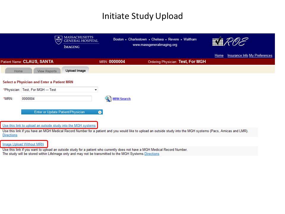 Initiate Study Upload