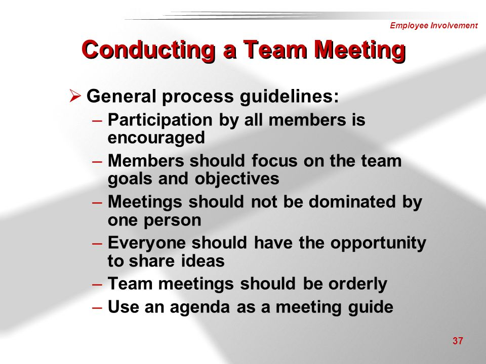 Employee Involvement 37  General process guidelines: –Participation by all members is encouraged –Members should focus on the team goals and objectiv