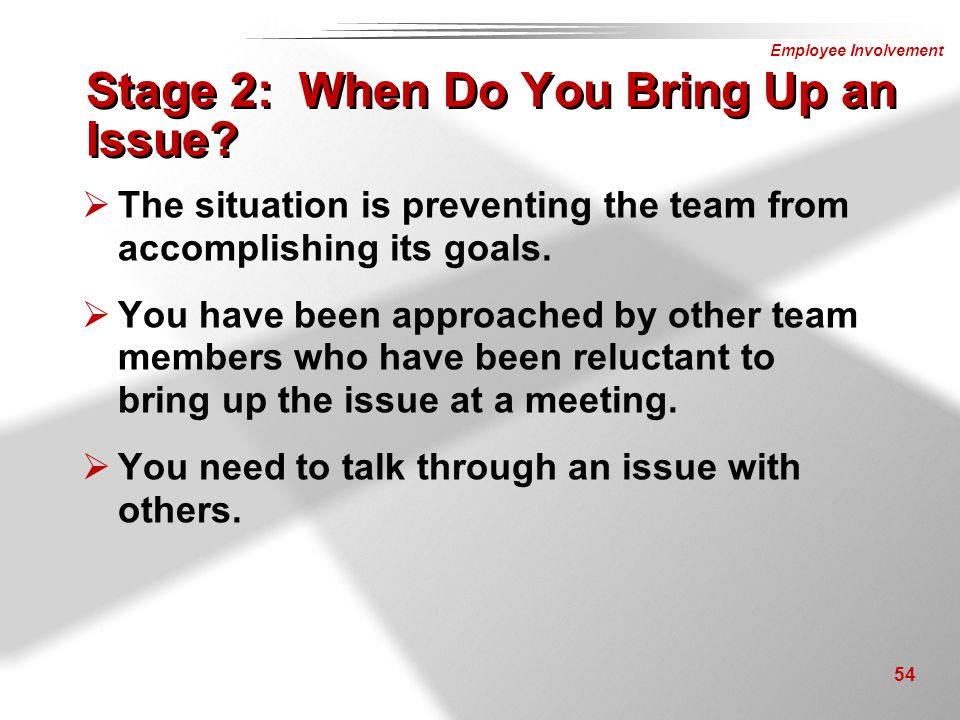 Employee Involvement 54 Stage 2: When Do You Bring Up an Issue?  The situation is preventing the team from accomplishing its goals.  You have been a