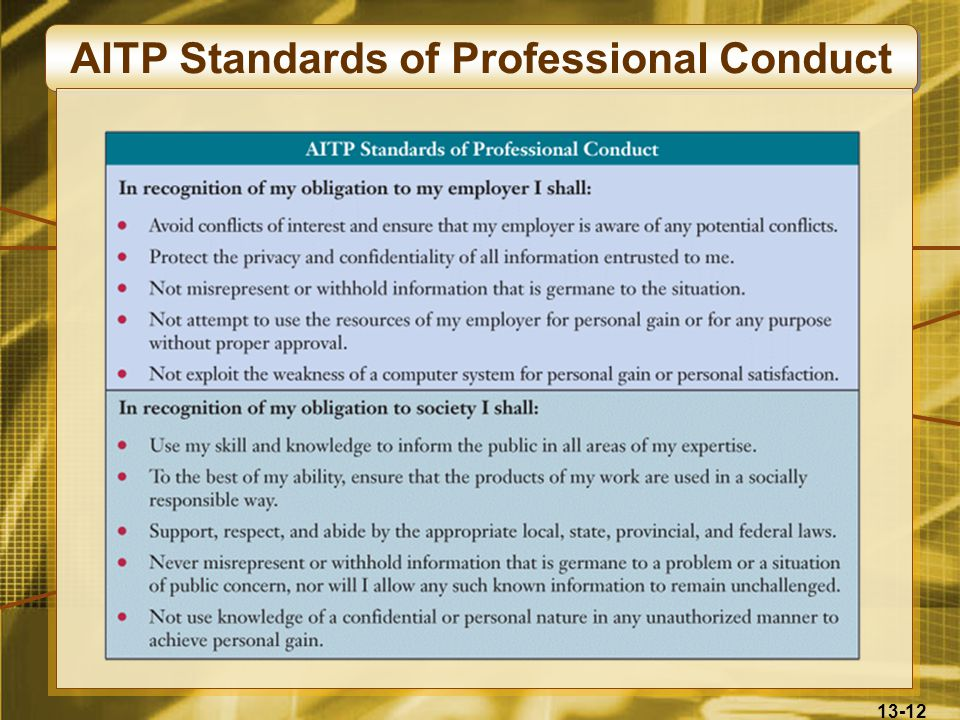 13-12 AITP Standards of Professional Conduct