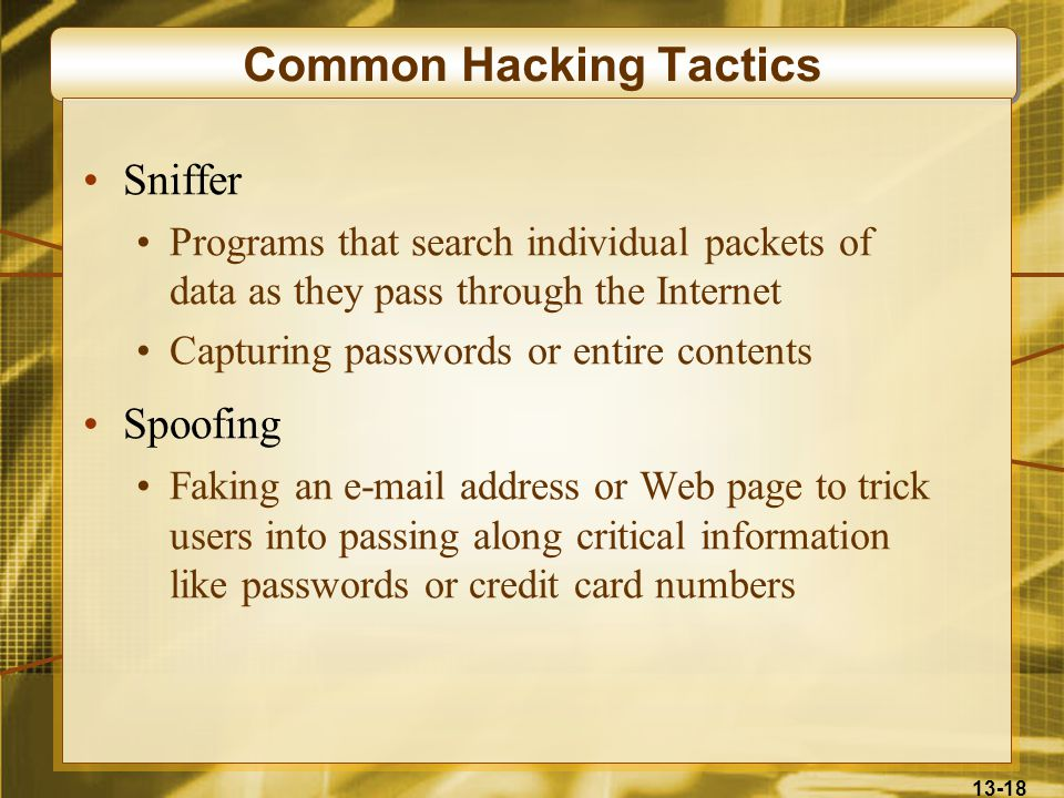 13-18 Common Hacking Tactics Sniffer Programs that search individual packets of data as they pass through the Internet Capturing passwords or entire contents Spoofing Faking an e-mail address or Web page to trick users into passing along critical information like passwords or credit card numbers