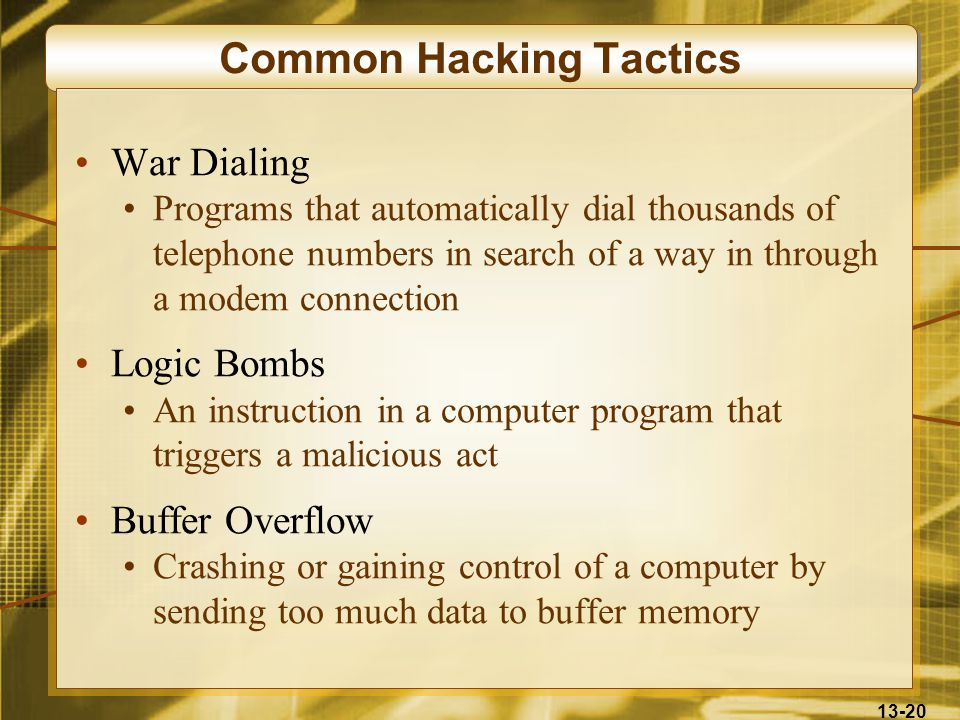 13-20 Common Hacking Tactics War Dialing Programs that automatically dial thousands of telephone numbers in search of a way in through a modem connection Logic Bombs An instruction in a computer program that triggers a malicious act Buffer Overflow Crashing or gaining control of a computer by sending too much data to buffer memory