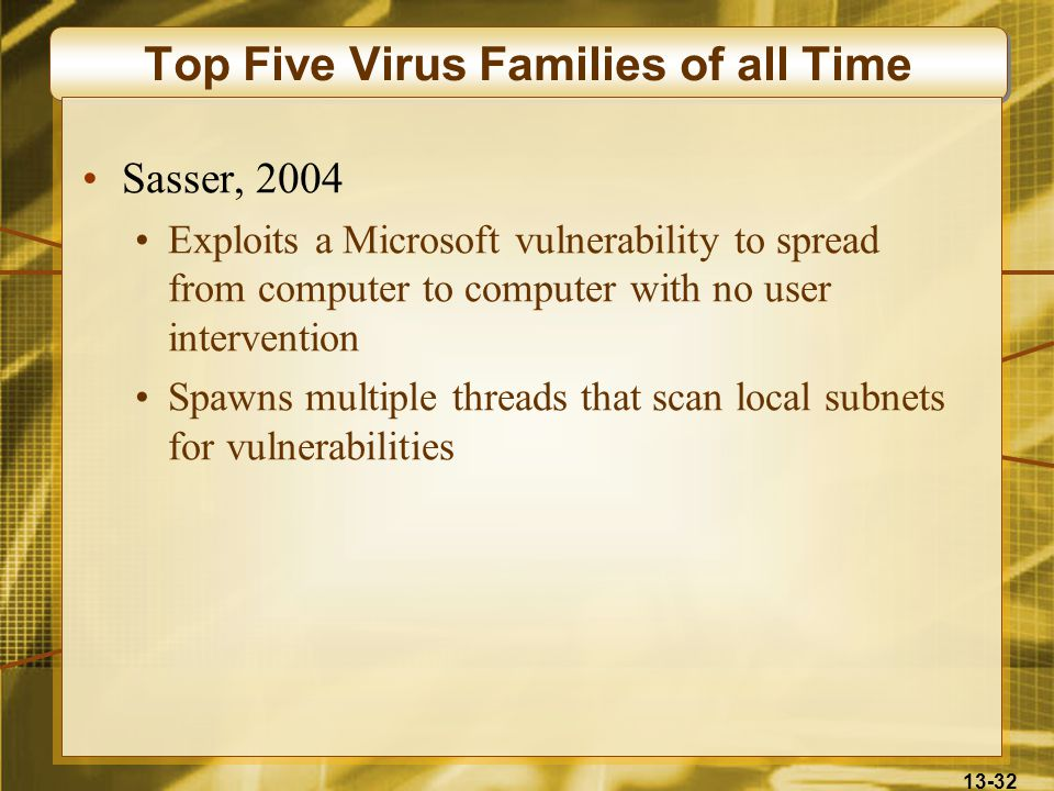 13-32 Top Five Virus Families of all Time Sasser, 2004 Exploits a Microsoft vulnerability to spread from computer to computer with no user intervention Spawns multiple threads that scan local subnets for vulnerabilities