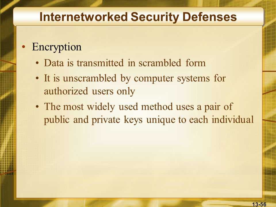 13-56 Internetworked Security Defenses Encryption Data is transmitted in scrambled form It is unscrambled by computer systems for authorized users onl