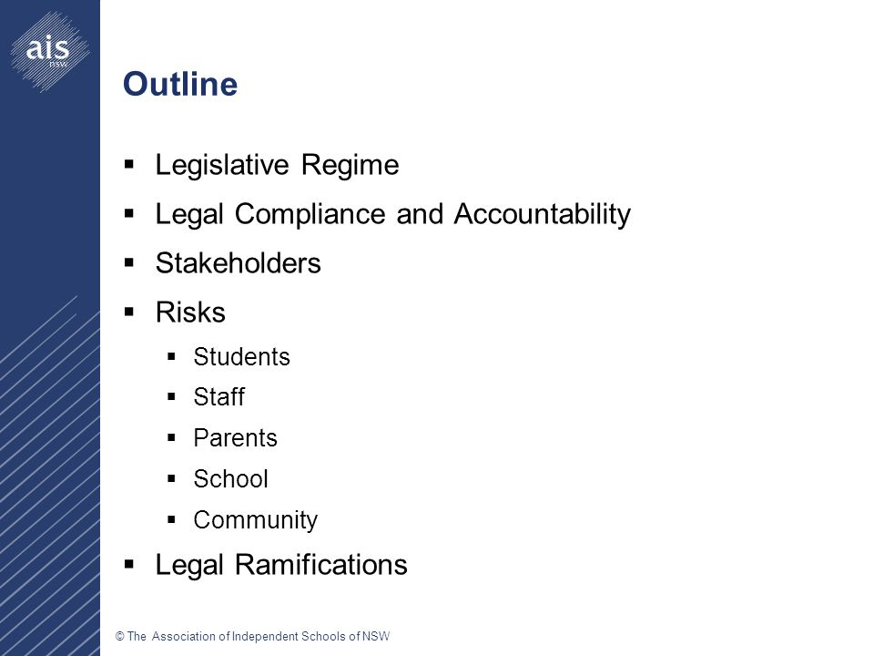 © The Association of Independent Schools of NSW Outline  Legislative Regime  Legal Compliance and Accountability  Stakeholders  Risks  Students  Staff  Parents  School  Community  Legal Ramifications