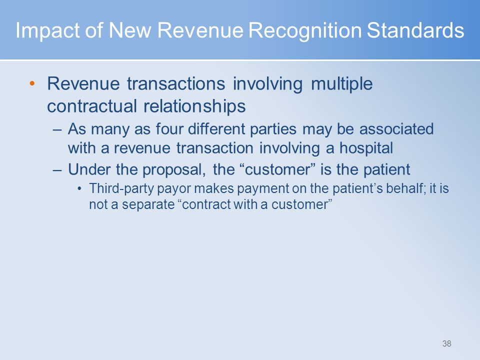 Impact of New Revenue Recognition Standards Revenue transactions involving multiple contractual relationships –As many as four different parties may b