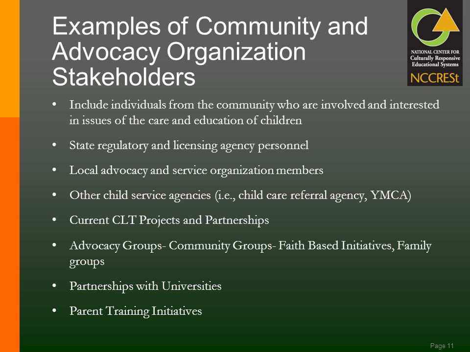 Page 10 Examples of Education Stakeholder Roles Special Education Administrators Regular Education Administrators School Board Members Building Level