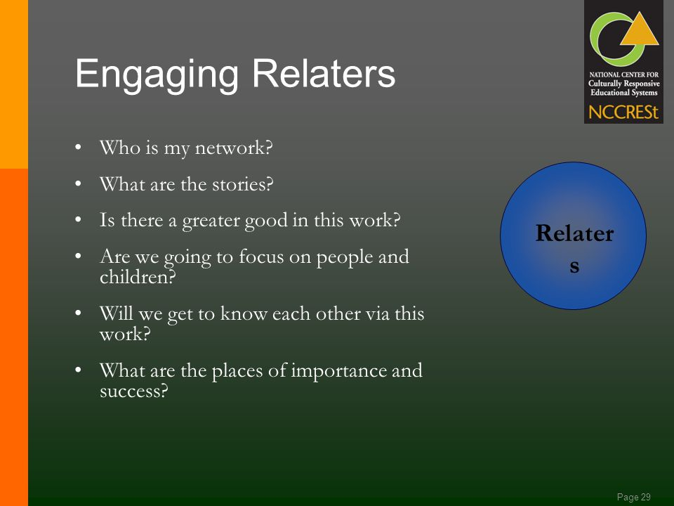 Page 28 Engaging Analyzers Why are we together? What are the trends? What are the ironies? What is the intended outcome? What is the whole picture and