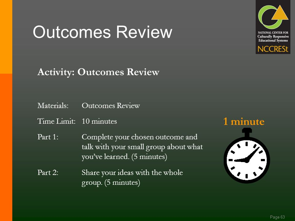 Page 62 Outcomes Review 2 minutes Activity: Outcomes Review Materials: Outcomes Review Time Limit: 10 minutes Part 1: Complete your chosen outcome and talk with your small group about what you've learned.