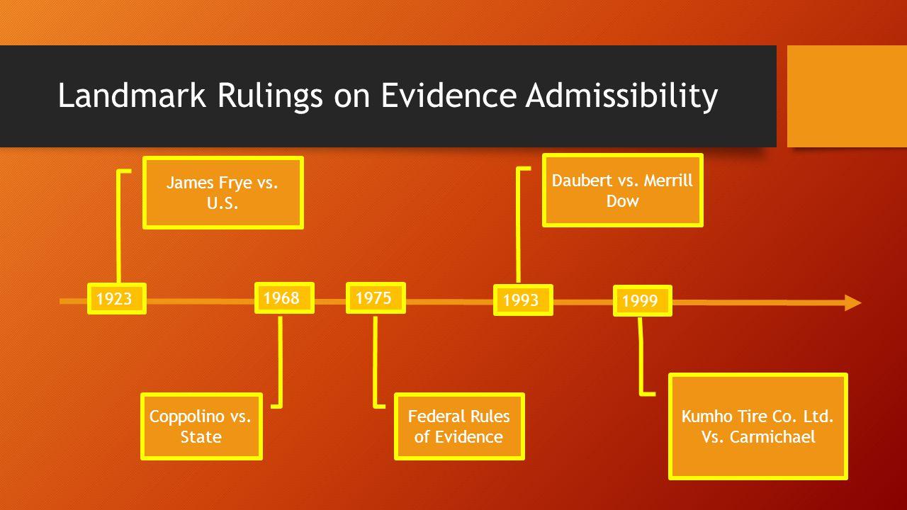 Landmark Rulings on Evidence Admissibility James Frye vs.