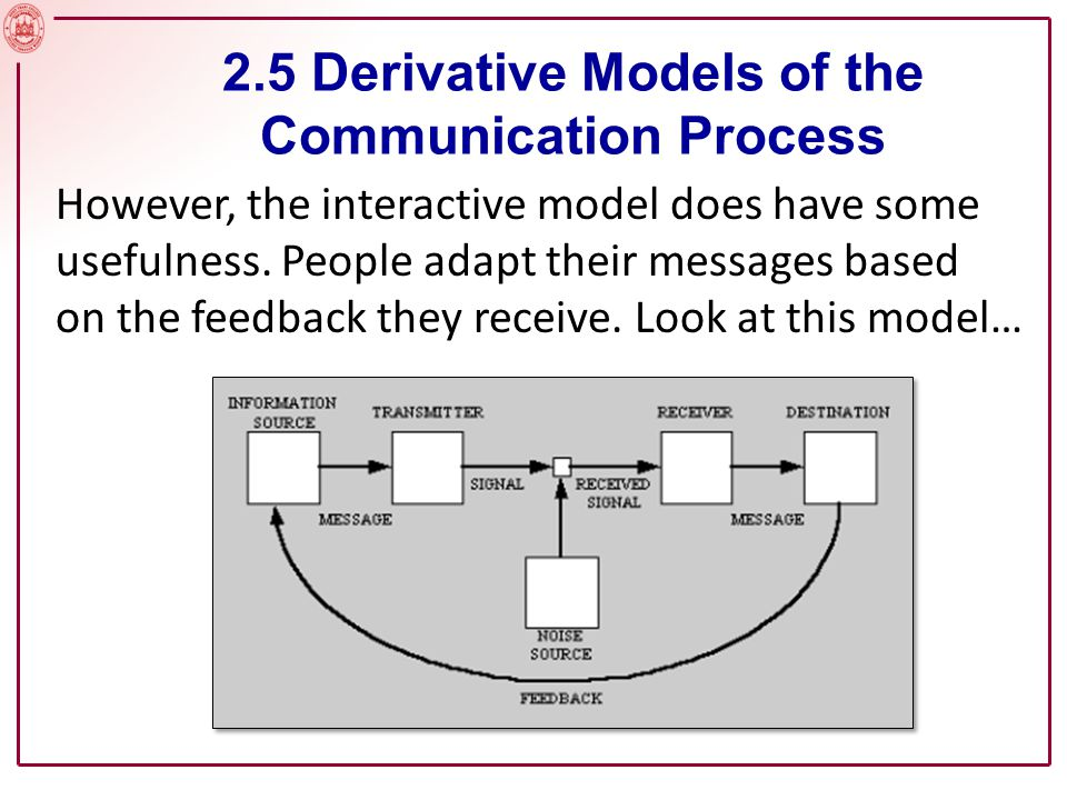 But where Shannon's interactive model shows feedback from one source, the trans-active model allows for feedback from both communicators.