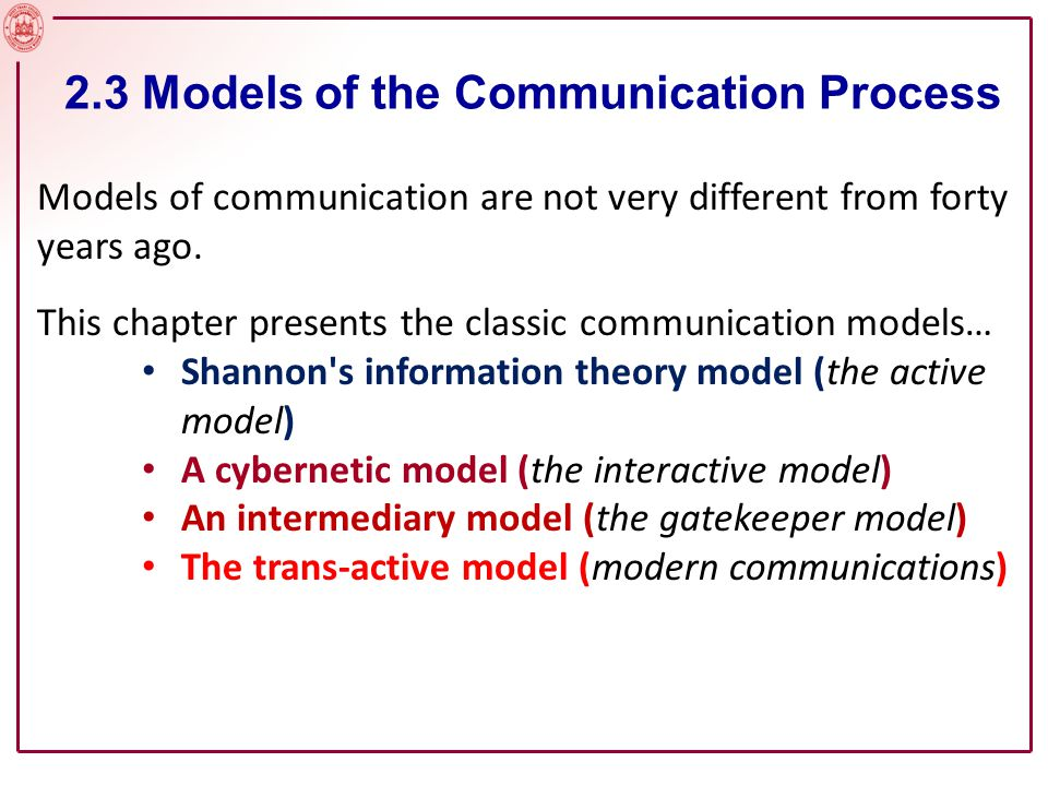 Shannon s (1948) model of the communication process is, in important ways, the beginning of the modern field.