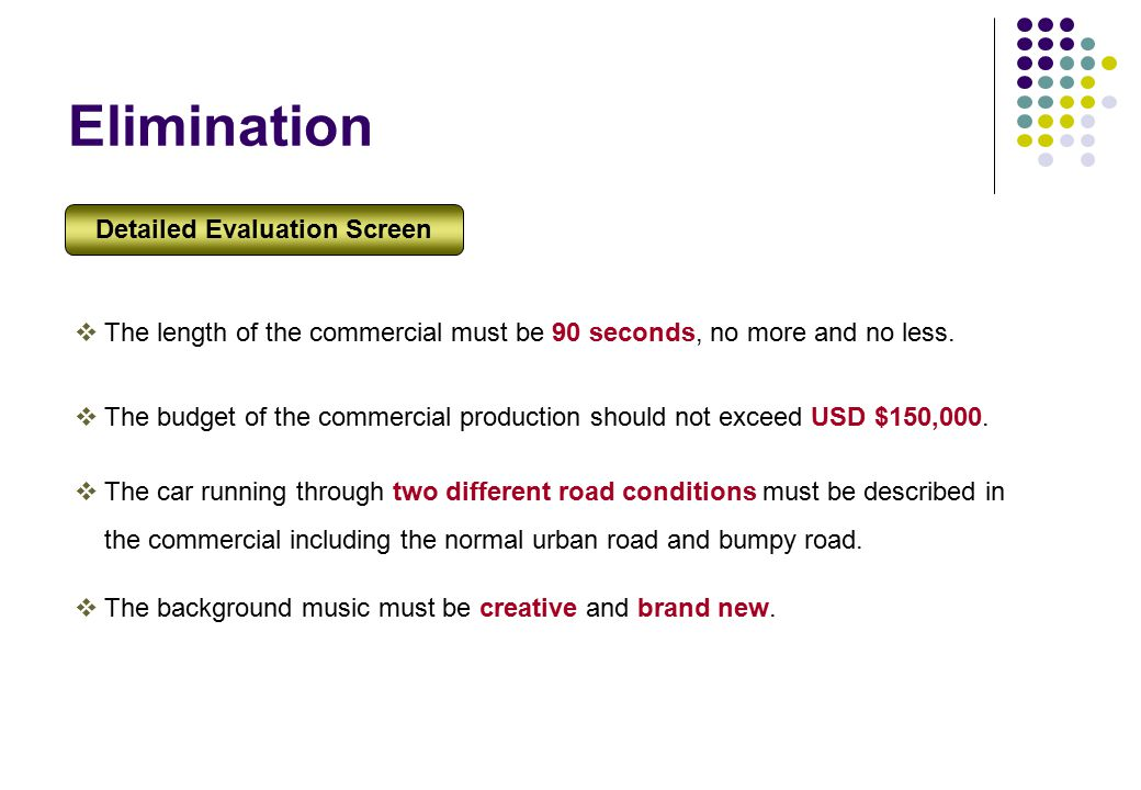Elimination  The length of the commercial must be 90 seconds, no more and no less.