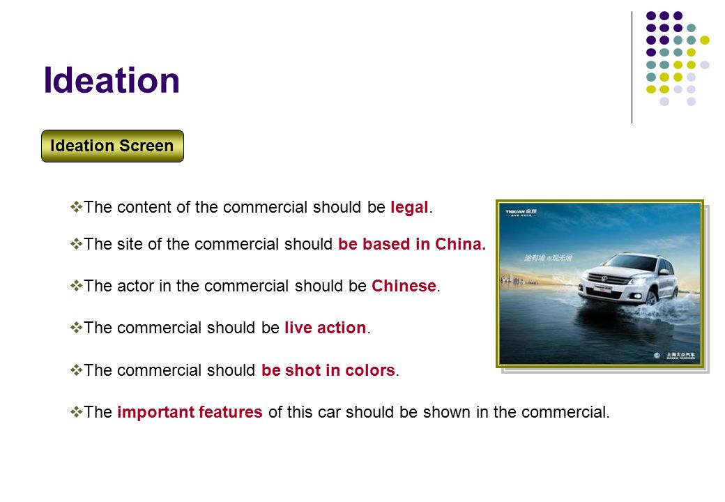 Ideation  The site of the commercial should be based in China.