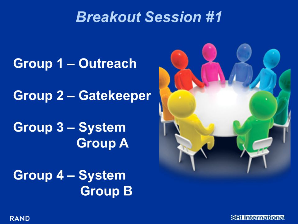 Breakout Session #1 Group 1 – Outreach Group 2 – Gatekeeper Group 3 – System Group A Group 4 – System Group B