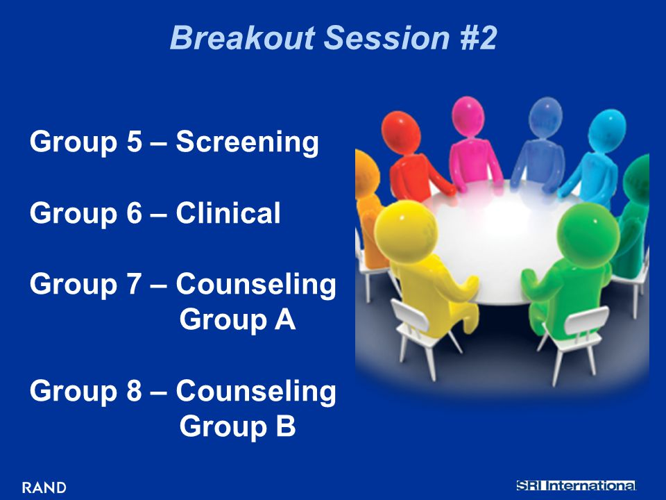 Breakout Session #2 Group 5 – Screening Group 6 – Clinical Group 7 – Counseling Group A Group 8 – Counseling Group B