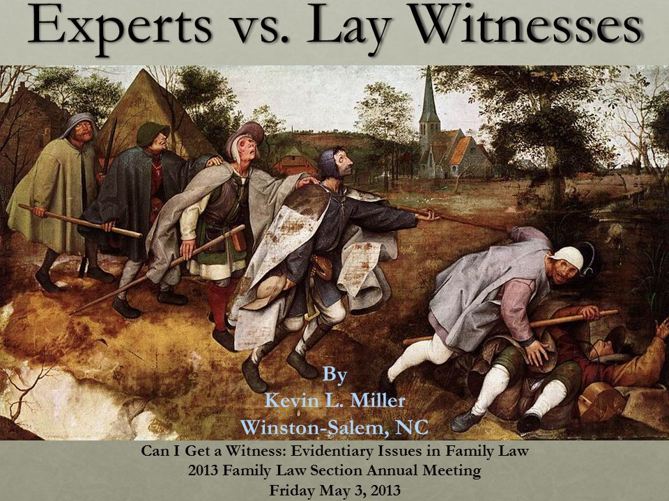 Experts vs. Lay Witnesses By Kevin L.